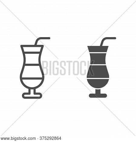 Cocktail Line And Solid Icon, Drinks Concept, Cocktail In Hurricane Glass Sign On White Background,