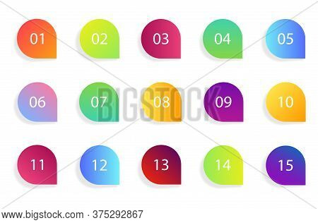 Marker Bullet Icon With Number 1 To 15. Set Of Infographic Point Button For Web, Business. Arrow Gra