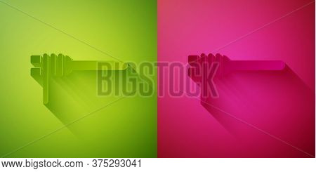 Paper Cut Pasta Spaghetti On The Fork Icon Isolated On Green And Pink Background. Italian Restaurant