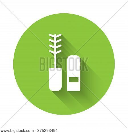 White Mascara Brush Icon Isolated With Long Shadow. Green Circle Button. Vector
