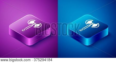 Isometric Medieval Axe Icon Isolated On Blue And Purple Background. Battle Axe, Executioner Axe. Med