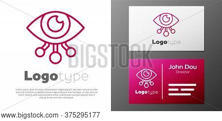 Logotype Line Eye Scan Icon Isolated On White Background. Scanning Eye. Security Check Symbol. Cyber