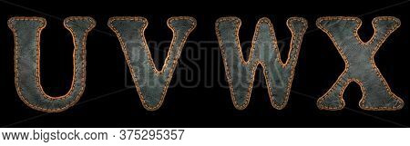 Set of leather letters U, V, W, X uppercase. 3D render font with skin texture isolated on black background. 3d rendering