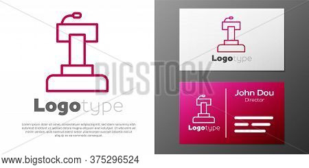 Logotype Line Stage Stand Or Debate Podium Rostrum Icon Isolated On White Background. Conference Spe