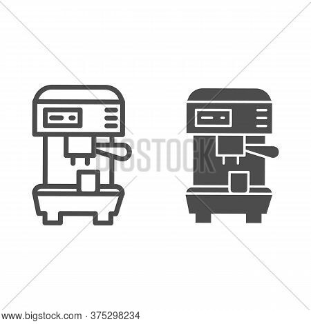 Coffee Machine Line And Solid Icon, Household Appliances Concept, Electric Appliance For Making Coff