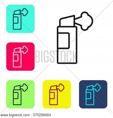 Black Line Pepper Spray Icon Isolated On White Background. Oc Gas. Capsicum Self Defense Aerosol. Se
