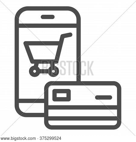 Smartphone And Credit Card Line Icon, Shopping Concept, Mobile Payment From Credit Card Sign On Whit
