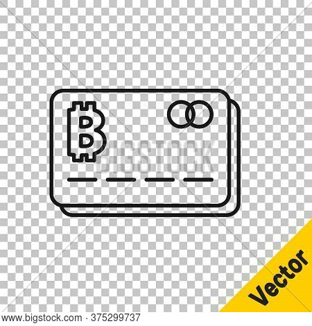 Black Line Credit Card With Bitcoin Icon Isolated On Transparent Background. Online Payment. Cash Wi