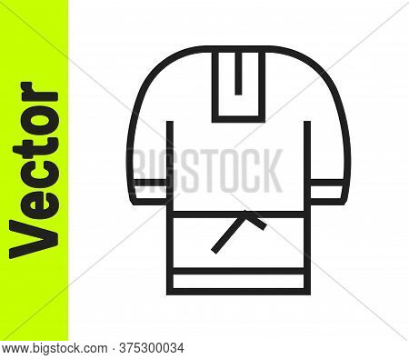 Black Line Kosovorotka Is A Traditional Russian Shirt Icon Isolated On White Background. Traditional