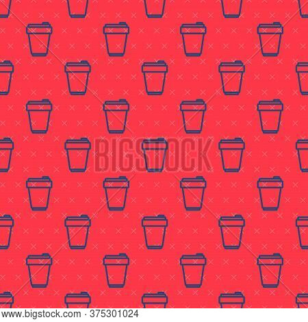 Blue Line Fitness Shaker Icon Isolated Seamless Pattern On Red Background. Sports Shaker Bottle With