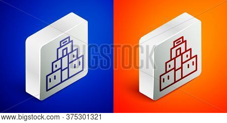 Isometric Line Chichen Itza In Mayan Icon Isolated On Blue And Orange Background. Ancient Mayan Pyra