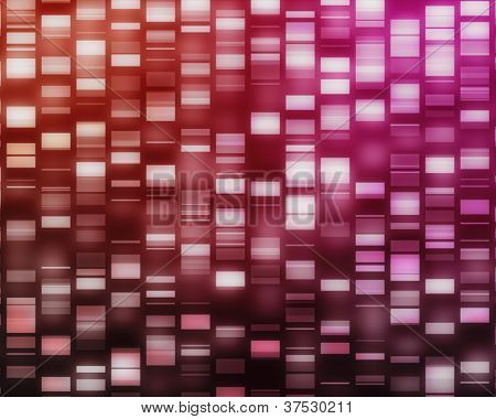 Red and pink DNA strands on black background