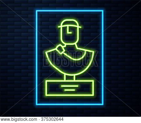 Glowing Neon Line Ancient Bust Sculpture Icon Isolated On Brick Wall Background. Vector