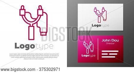 Logotype Line Slingshot Icon Isolated On White Background. Logo Design Template Element. Vector.