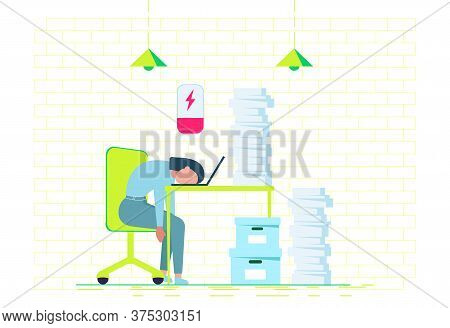 Professional Burnout. Young Exhausted Female Manager Sitting At The Office. Long Working Day. Millen