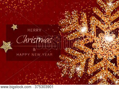 Merry christmas and happy new year gold snowflakes on red background. Christmas. Christmas Vector. Christmas Background. Merry Christmas Vector. Merry Christmas banner. Christmas illustrations. Merry Christmas Holidays. Merry Christmas and Happy New Year