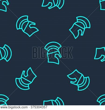 Green Line Greek Helmet Icon Isolated Seamless Pattern On Blue Background. Antiques Helmet For Head