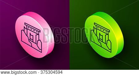 Isometric Line Ancient Ruins Icon Isolated On Purple And Green Background. Circle Button. Vector
