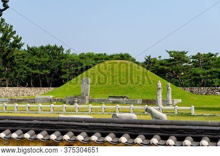 Gimhae, South Korea - June 18, 2017 : Royal Tomb Of King Suro Of Gaya Kingdom In Gimehae, South Gyeo