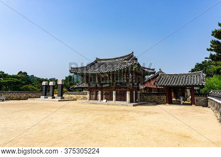 Gimhae, South Korea - June 18, 2017 : Traditional Korean Style Pavilion In The Royal Tomb Of King Su
