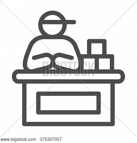 Market Seller Line Icon, Market Concept, Male Seller At Checkout Sign On White Background, Vendor Or