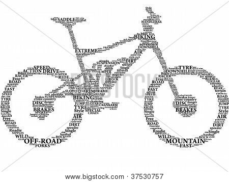 Silhouette of mountain bike in words