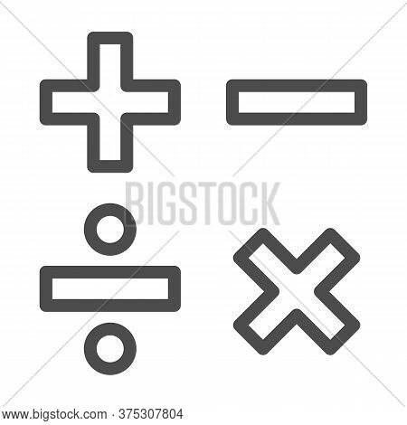 Add, Subtract, Divide, Multiply Symbols Line, Education Concept, Math Calculate Sign On White Backgr