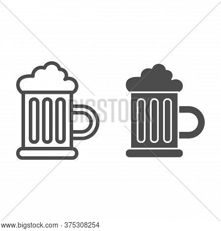 Beer Mug With Foam Line And Solid Icon, Drinks Concept, Mug Of Beer Sign On White Background, Glass