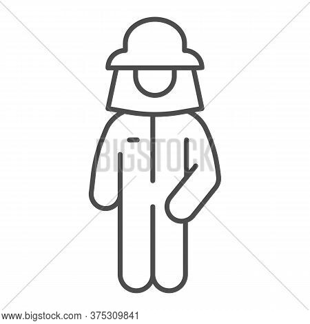 Beekeeper Thin Line Icon, Beekeeping Concept, Beekeeper In Protection Uniform And Hat Sign On White