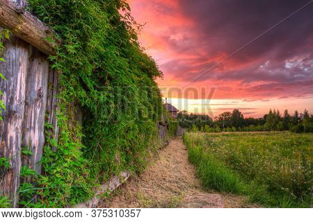 Beautiful sunset over the settlement of Trade Factory in Pruszcz Gdanski, Poland.