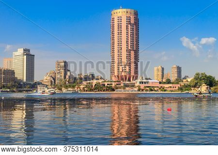 Cairo, Egypt - December 8, 2018: Building Of 5 Star Sofitel El Gezirah Hotel On Nile Riverbank In Ca