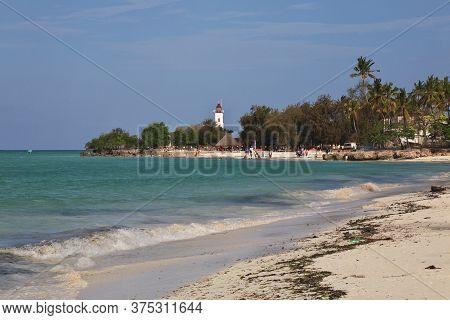 Zanzibar / Tanzania - 31 Dec 2016: The Lighthouse On Nungwi Beach Of Zanzibar, Tanzania