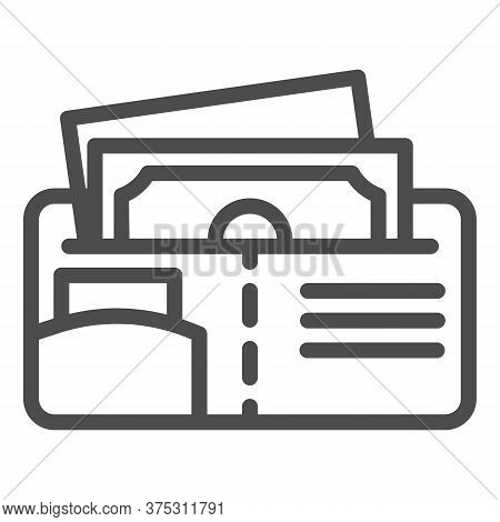 Money Wallet Line Icon, Finance Concept, Open Wallet With Banknotes And Credit Card Sign On White Ba