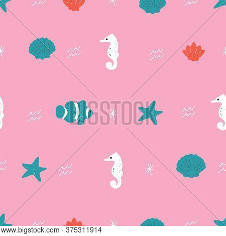 Seamless Vector Repeat Pink Red And Green Ocean Animals Pattern. This Pattern Has Starfish, Turtles,