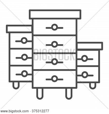 Bee Hives Thin Line Icon, Beekeeping Concept, Bee Houses Sign On White Background, Hives For Bees Ic