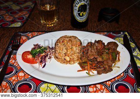 Zanzibar / Tanzania - 01 Jan 2017: Food On Nungwi Beach Of Zanzibar, Tanzania