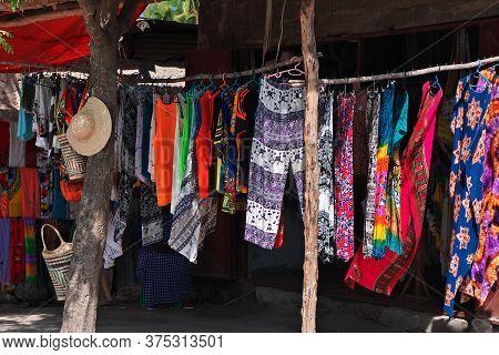 Nungwi, Zanzibar / Tanzania - 02 Jan 2017: Clothes In Nungwi Village On Zanzibar, Tanzania