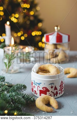 Christmas Crescent Cookies, Traditional Homemade Christmas Bakery With Candle