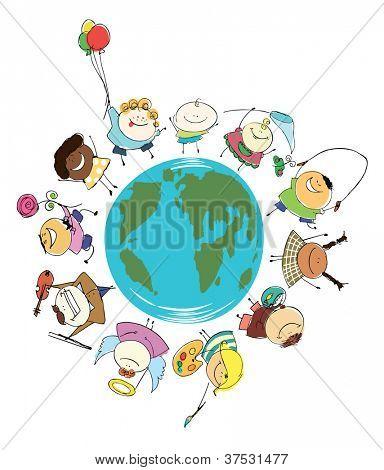 Earth globe of happy children vector illustration