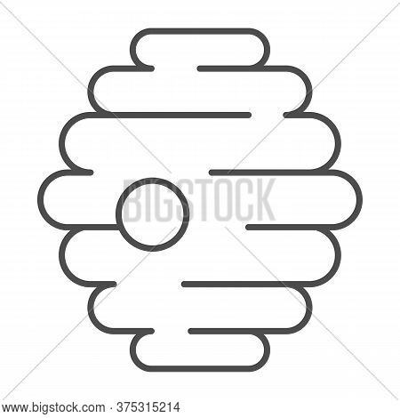 Natural Beehive Thin Line Icon, Honey Concept, Nest Of Bees Or Wasps Sign On White Background, Honey