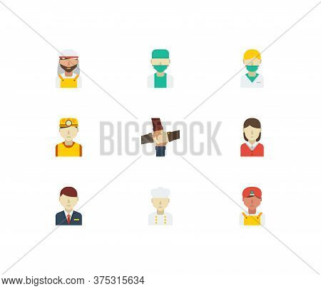 Occupation Icons Set. Indian Worker And Occupation Icons With Safety Worker, Nurse And Teamwork. Set