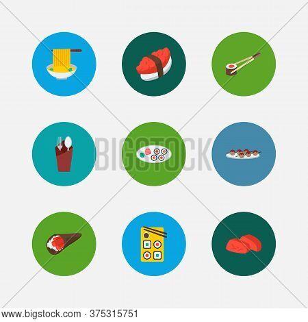 Food Icons Set. Tako Maki And Food Icons With Fork With Spoon, Sashimi And Japanese Roll. Set Of Cho