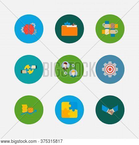 Technology Collaboration Icons Set. Handshake And Technology Collaboration Icons With Brainstorming,