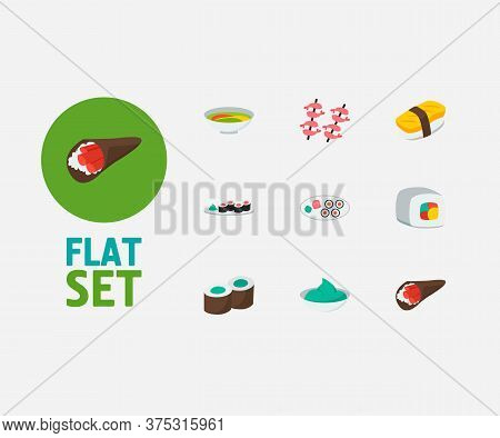 Nutrition Icons Set. Futomaki And Nutrition Icons With Kappa Maki, Shrimp And Japanese Roll. Set Of