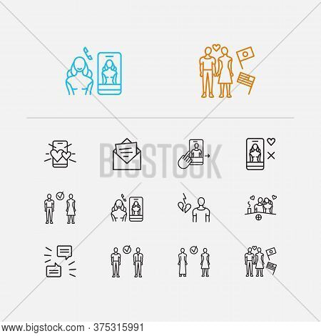 Network Icons Set. Online Dating App And Network Icons With International Couple, Date On The Roofto