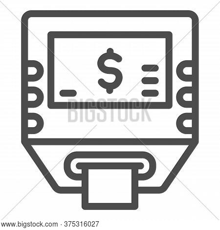 Self-service Terminal Line Icon, Shopping Concept, Bank Terminal Sign On White Background, Atm Icon