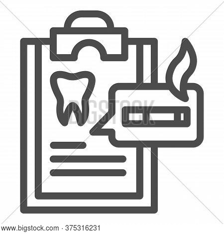 Dentist Questionnaire Line Icon, Smoking Concept, Harm Of Smoking In Checklist Sign On White Backgro