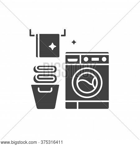 Laundry Room Black Glyph Icon. House Amenities Sign. Cleaning Service. Pictogram For Web Page, Mobil