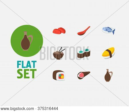 Food Icons Set. Sashimi And Food Icons With Unagi Nigin, Sushi Roll And Soup Spoon. Set Of Egg For W