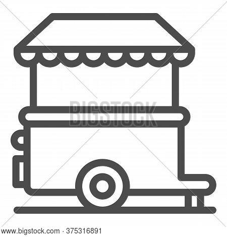 Stall On Wheels Line Icon, Street Food Concept, Street Kiosk Sign On White Background, Trailer Kiosk